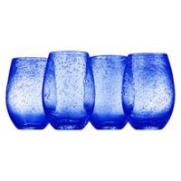 Artland® Iris Stemless Wine Glasses in Blue(Set of 4)