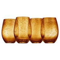 Artland® Iris Stemless Wine Glasses in Amber (Set of 4)