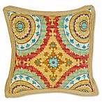 Jute Trimmed Outdoor Square Throw Pillow in Sunset Red