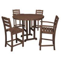 POLYWOOD® La Casa 5-Piece Outdoor Counter Dining Set in Mahogany