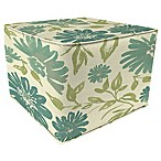 Outdoor Square Pouf Ottoman in Sunbrella® Violetta Baltic