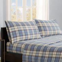 True North by Sleep Philosophy Micro Fleece King Sheet Set in Blue Plaid