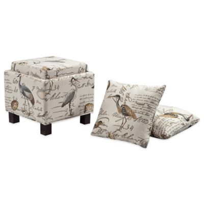 Madison Park Square Storage Ottoman With Two Accent Pillows In Ivory