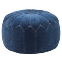 Madison Park Round Pouf Ottoman in Blue