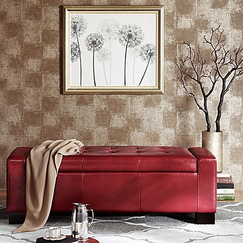 Buy Madison Park Mirage Bench Storage Ottoman In Red From