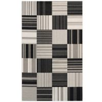 Couristan® Afuera Patchwork 3-Foot 11-Inch x 5-Foot 7-Inch Indoor/Outdoor Area Rug in Onyx/Ivory