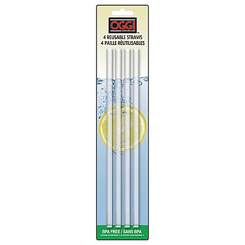 Oggi reusable acrylic straws set of 4 bed bath beyond for Plexiglas beistelltisch 3er set