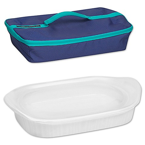 image of CorningWare® French White® 3 qt. Baking Dish with Lid and Portable Case