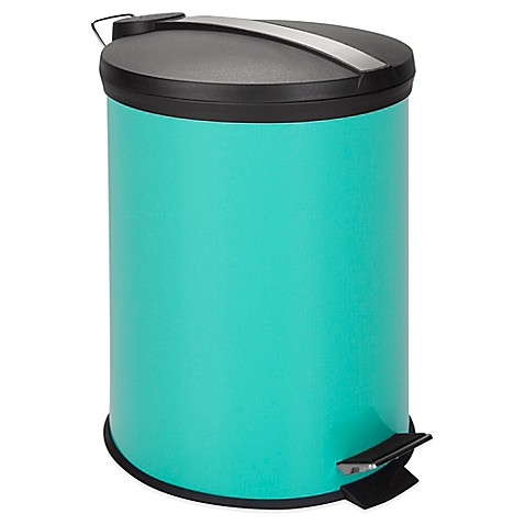 Equip Your Space 12-Liter Metal Step Trash Can in Aqua