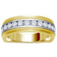14K Yellow and White Gold .50 cttw Channel-Set Diamond Size 10 Men's Milgrain Wedding Band