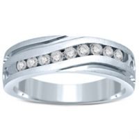 10K White Gold .50 cttw Channel-Set Diamond Size 10 Men's Slant Wedding Band