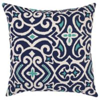 New Damask Reversible Square Throw Pillow in Marine