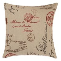 French Postale Square Throw Pillow