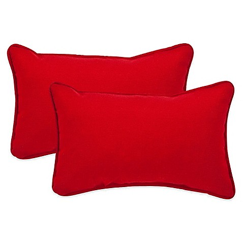 Red Throw Pillows For Bed : Pompeii Red Oblong Throw Pillow (Set of 2) - Bed Bath & Beyond