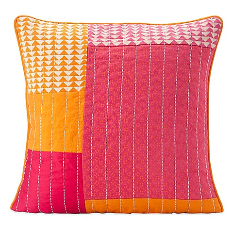Bed Bath And Beyond Orange Throw Pillows : SPUN by Welspun Taanka Handcrafted Throw Pillow in Orange/Pink - Bed Bath & Beyond