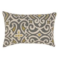 New Damask Oblong Throw Pillow in Greystone