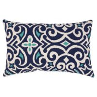 New Damask Reversible Oblong Throw Pillow in Marine