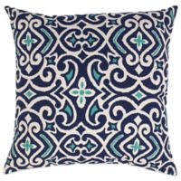 New Damask Reversible Floor Pillow in Marine