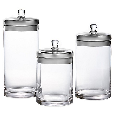 Fifth Avenue 3 Piece Glass Canister Set Bed Bath Amp Beyond
