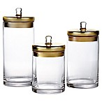 Fifth Avenue 3-Piece Glass Canister Set with Goldtone Lids