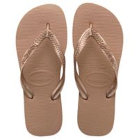 Havaianas® Size 6 Top Metallic Women's Sandal in Rose Gold