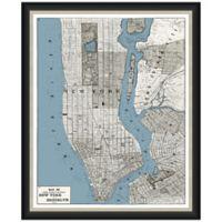 Framed Map of Manhattan-Brooklyn Wall Décor