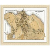 Framed Sag Harbor, NY Map Wall Décor
