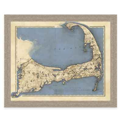 Framed Map of Cape Cod Landscape Wall Art