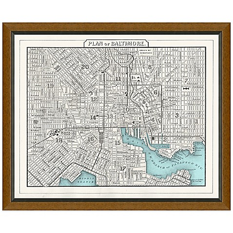 Buy framed baltimore md map wall d cor from bed bath beyond for Beyond the wall mural design