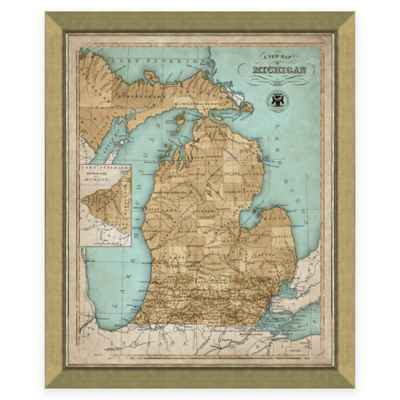 Framed Map of Michigan Wall Décor