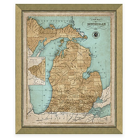 Framed Map Of Michigan Wall D 233 Cor Bed Bath Amp Beyond