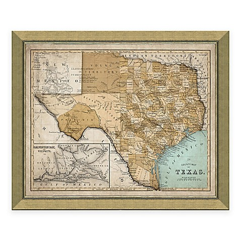 buy framed map of texas wall d cor from bed bath beyond. Black Bedroom Furniture Sets. Home Design Ideas