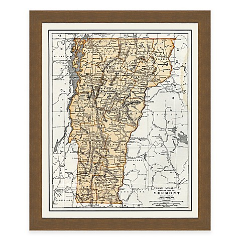 Buy framed vermont map wall d cor from bed bath beyond for Beyond the wall mural design