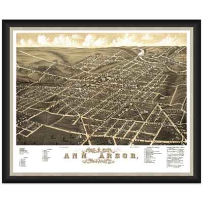 Framed Bird's Eye View of Ann Arbor, MI Wall Décor