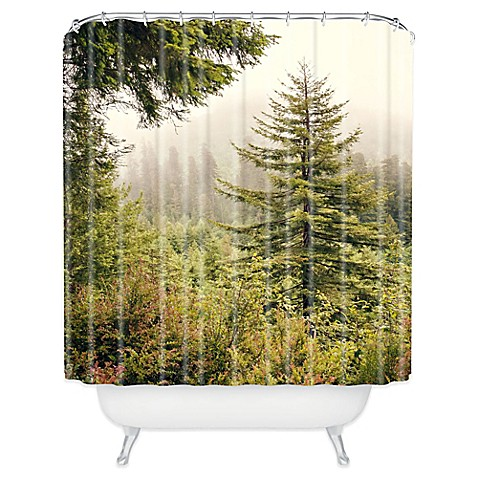 Deny designs catherine mcdonald into the mist shower - Forest green shower curtain ...