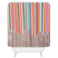 DENY Designs Iveta Abolina Stripe Happy Shower Curtain in Peach