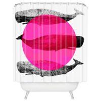 DENY Designs Elizabeth Fredriksson Whales Shower Curtain in Pink