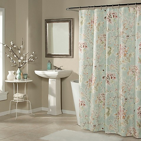 Millie shower curtain in aqua bed bath beyond for Master bathroom curtains