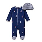 Little Me® Size 3M 2-Piece Sailboats Footie and Hat Set