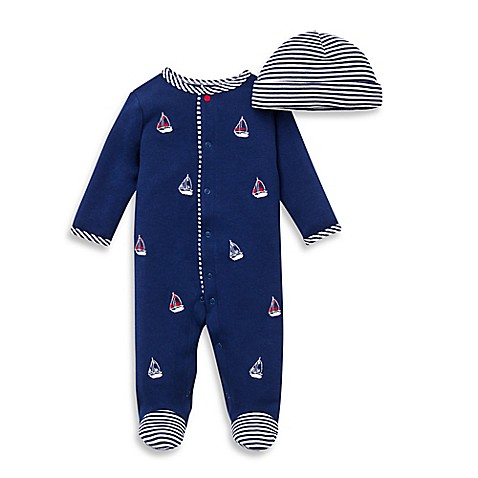 Little Me® 2-Piece Sailboats Footie and Hat Set | Tuggl