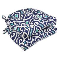 New Damask Reversible Chair Pads in Blue (Set of 2)