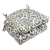 New Damask Reversible Chair Pads in Grey (Set of 2)