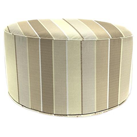 Outdoor round pouf ottoman in sunbrella milano bed bath for Ulani outdoor round pouf ottoman
