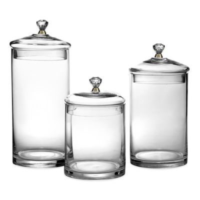 Glass Canisters With Golden Knobs Set Of 3