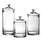 Glass Canisters with Golden Knobs (Set of 3)