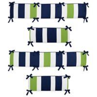 Sweet Jojo Designs Navy and Lime Stripe Crib Bumper