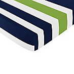 Sweet Jojo Designs Navy and Lime Stripe Fitted Crib Sheet