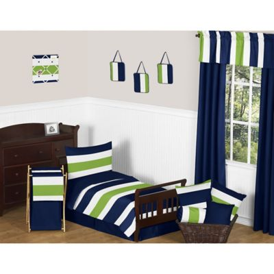 sweet jojo designs navy and lime stripe 5piece toddler bedding set