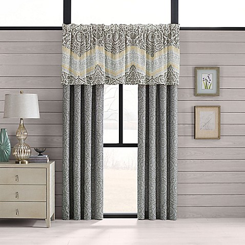 Neville window treatments in grey yellow bed bath beyond for Grey bedroom window treatments