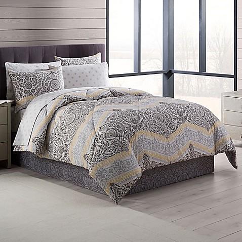 neville comforter set in grey yellow bed bath beyond. Black Bedroom Furniture Sets. Home Design Ideas